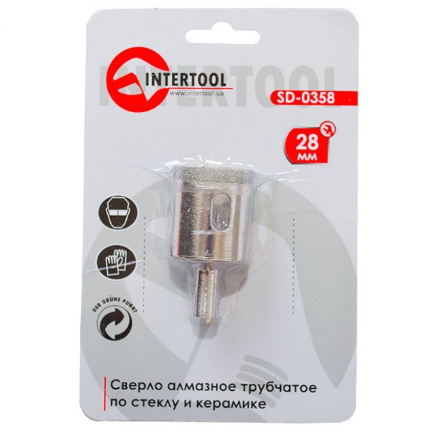 Коронка трубчаста по склу та кераміці 28 мм INTERTOOL SD-0358