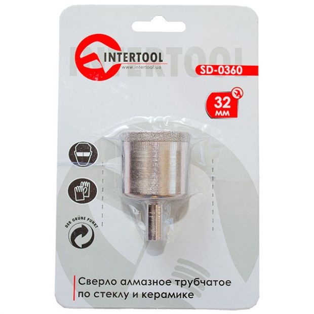 Коронка трубчаста по склу та кераміці 32 мм INTERTOOL SD-0360